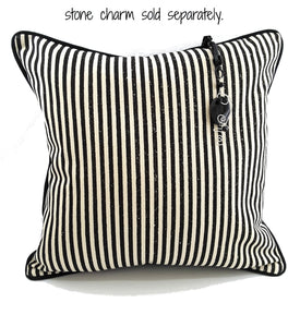 "Black Stripe on Natural Denim Pillow Cover (Medium) 18""x18"" - TheLastWordBish.com"