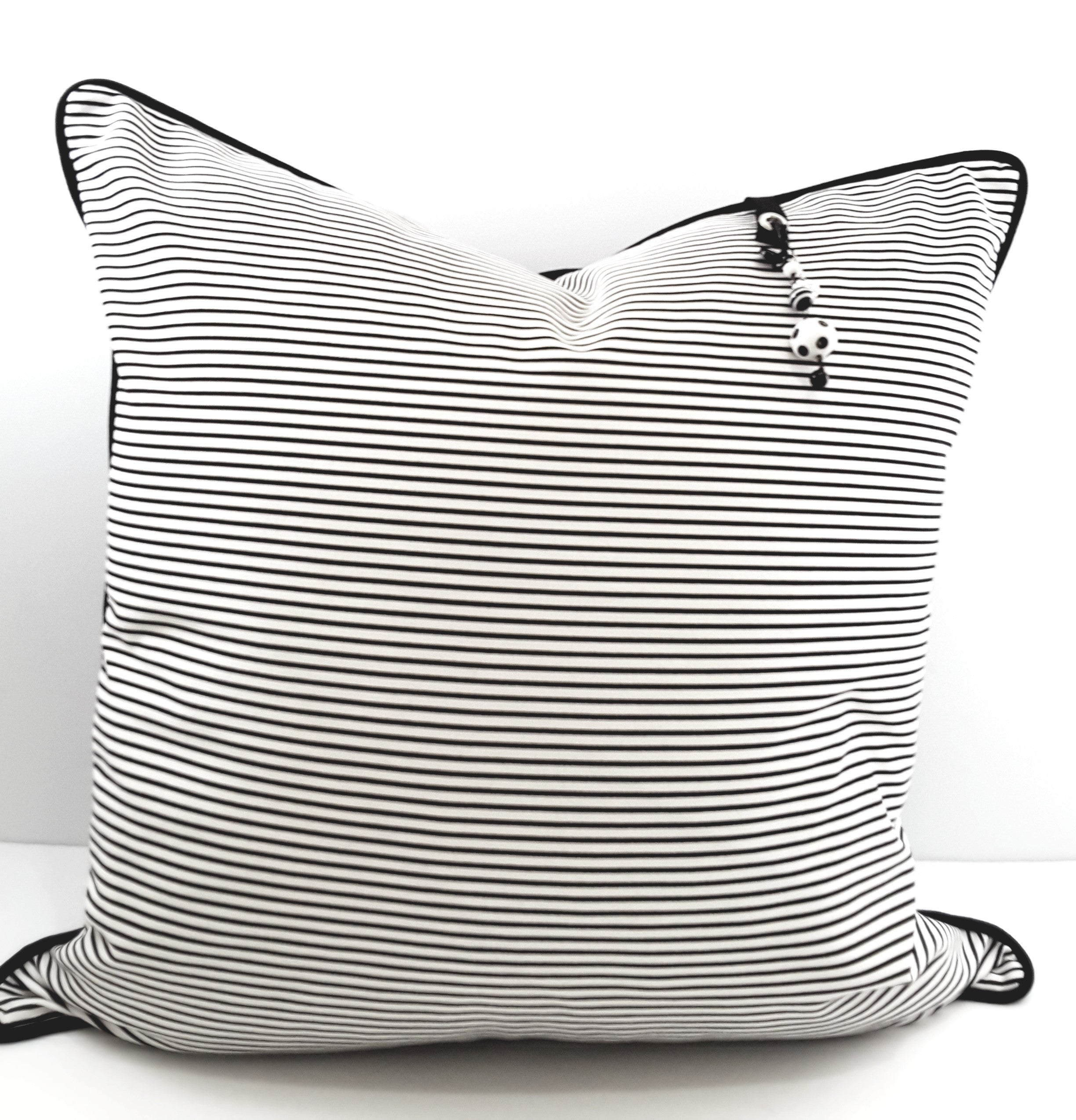 Black Stripe Denim Designer Pillow Cover - TheLastWordBish.com