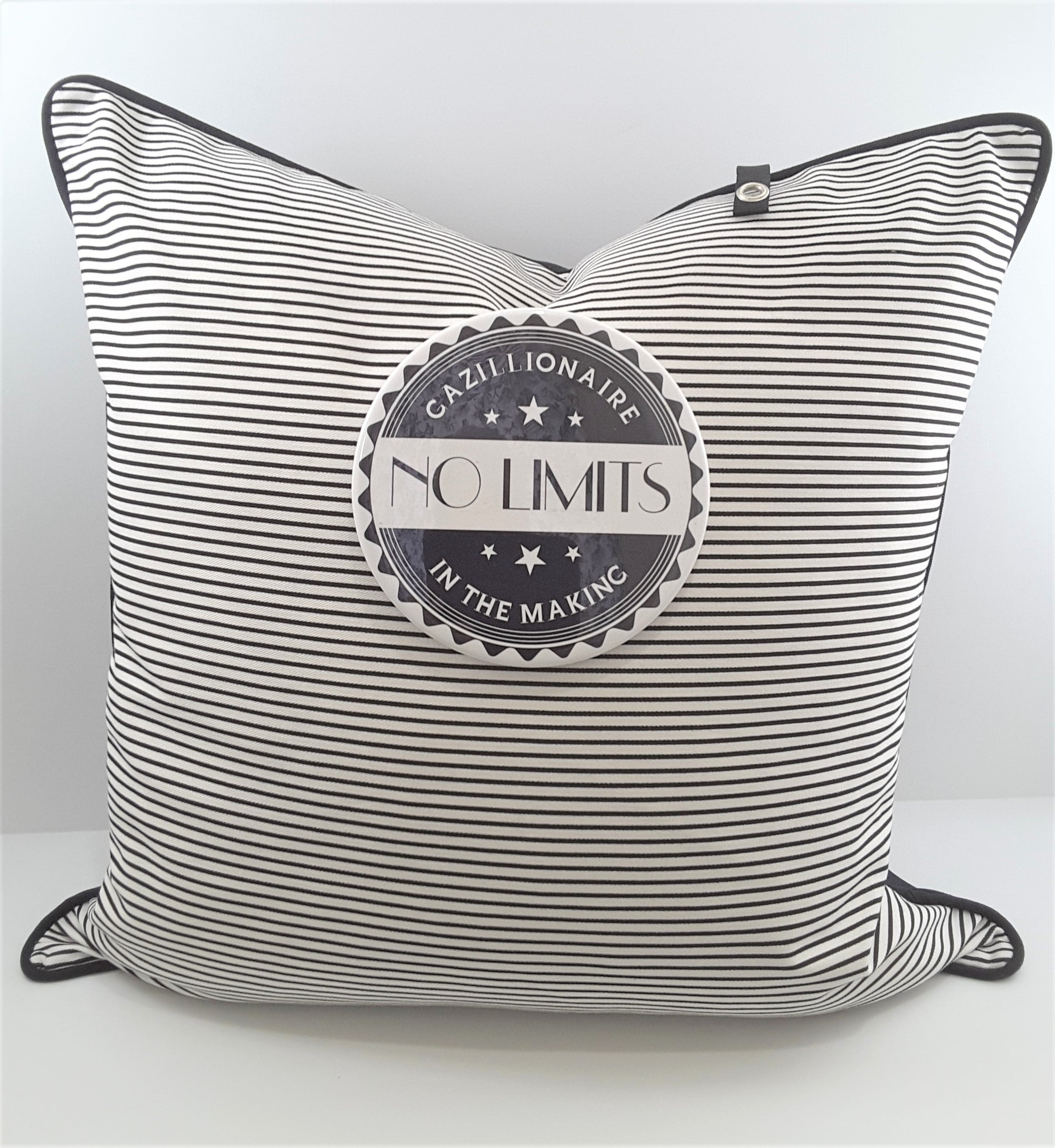 "6"" NO LIMITS BUTTON ON NARROW STRIPE PILLOW"