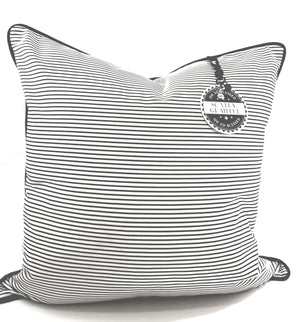 Black Stripe Denim Designer Pillow Cover