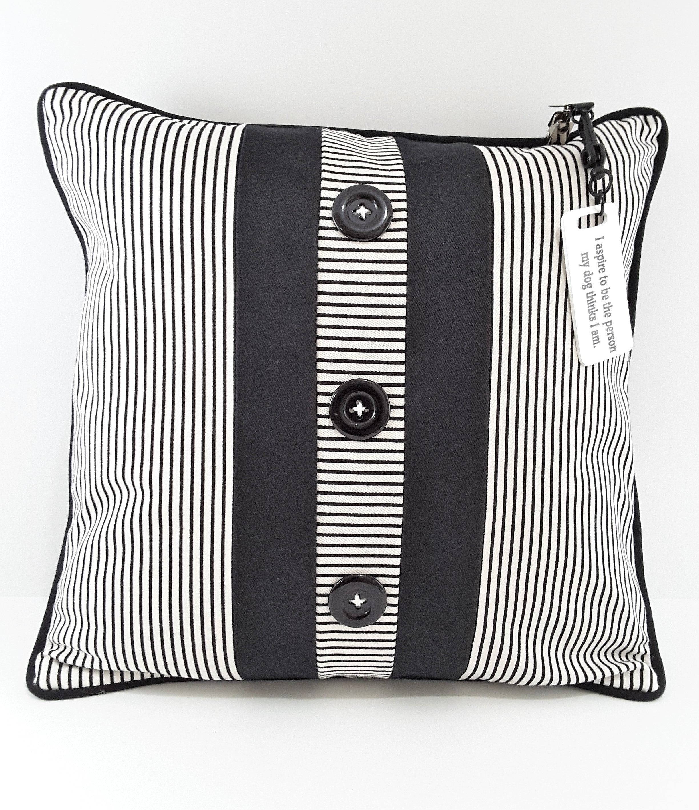 WHITE PILLOW TAG ON STRIPE, 3 BUTTON PILLOW
