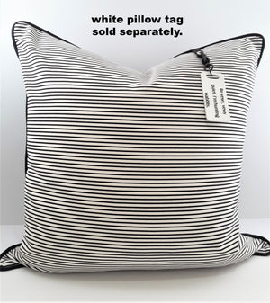 NARROW BLACK & WHITE STRIPE DENIM PILLOW WITH WHITE PILLOW TAG