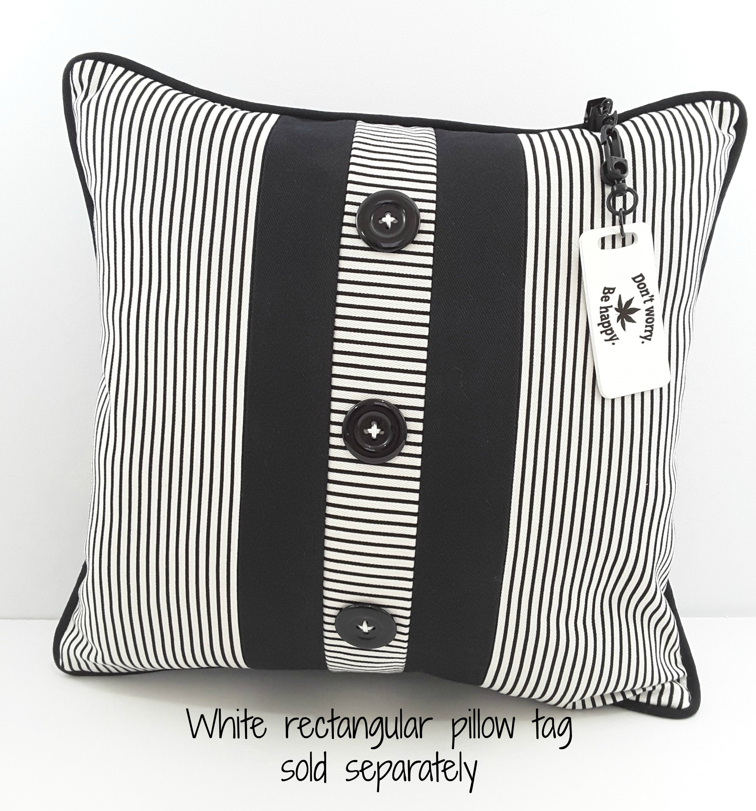 Black Stripe Denim Pillow with 3 Button Placket - TheLastWordBish.com