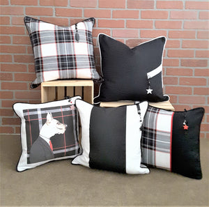 BLACK, WHITE & RED PLAID, SOLID & STRIPE PILLOW COLLECTION BY ALEXANNDRA CARINGTON