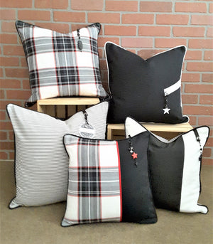 BLACK & WHITE STRIPE & PLAID PILLOW COLLECTION