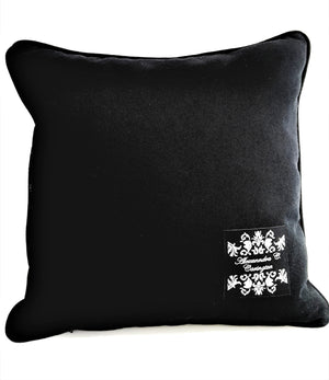 BLACK BACK OF BLACK & NATURAL STRIPE PILLOW