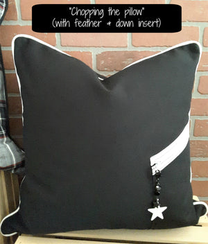"black denim pillow zippered pocket & charm with ""karate chop"""