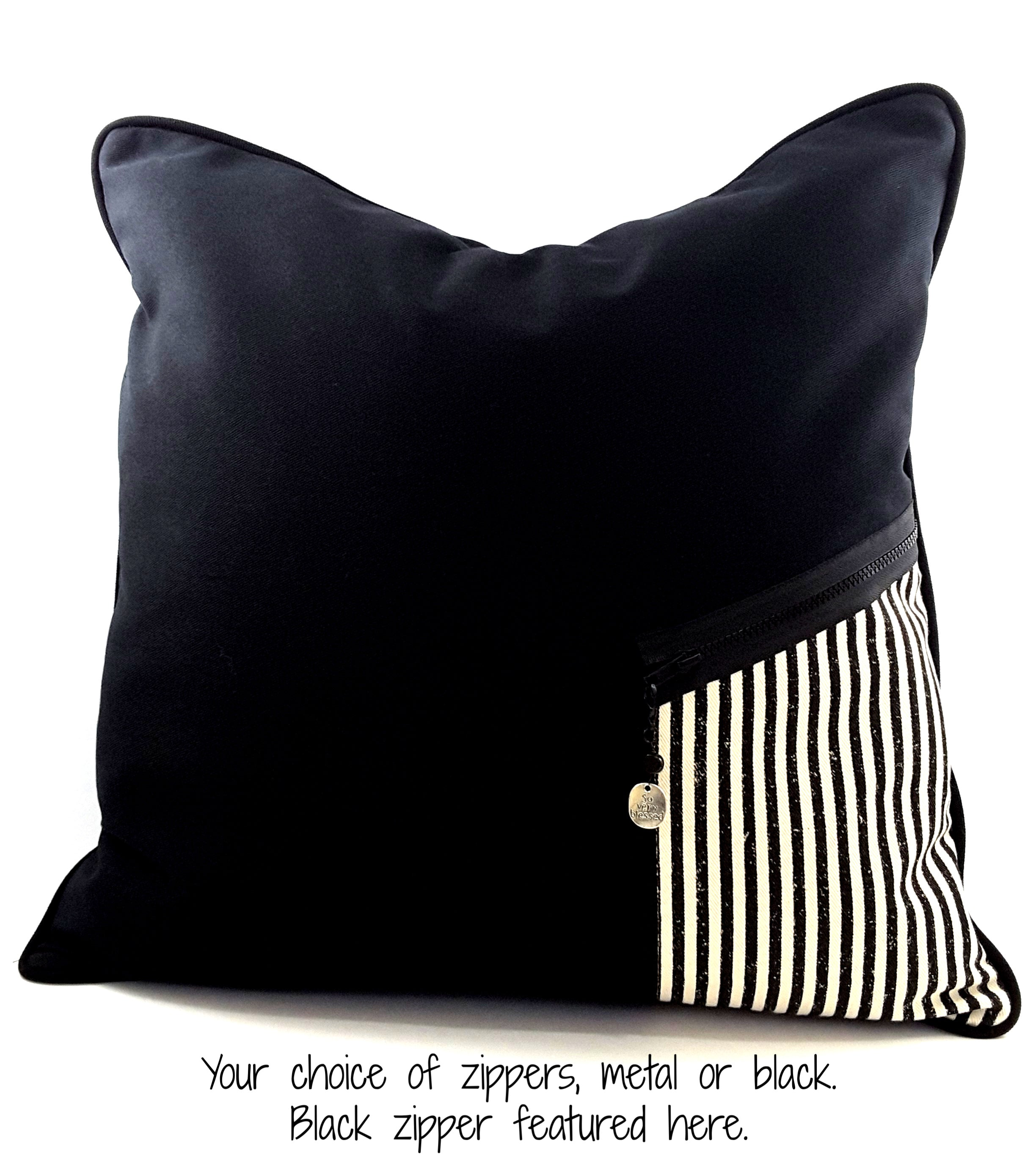 Black Denim Designer Pillow Cover with Zippered Pocket & Charm - The Last Word Bish