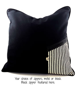 Black Denim Designer Pillow Cover with Zippered Pocket & Charm