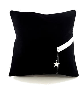 Unique Black Denim Pillow Cover with Zippered Pocket & So Very Blessed Charm - TheLastWordBish.com