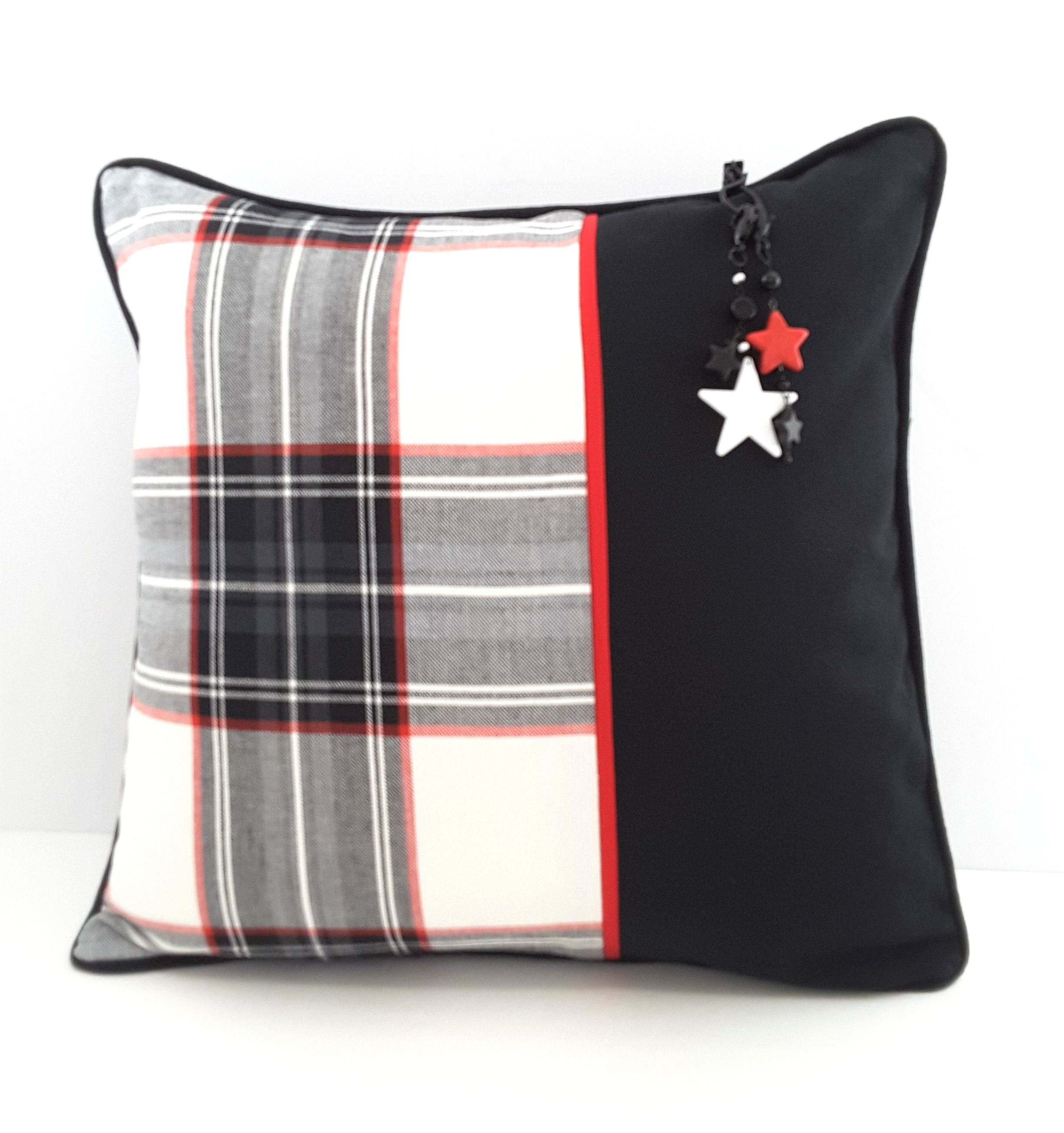 Stylish Black/White/Red Plaid Denim Pillow Cover with Charm
