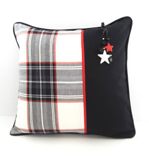 BLACK, WHITE & RED PLAID DENIM PILLOW WITH BLACK ACCENT ON RIGHT SIDE