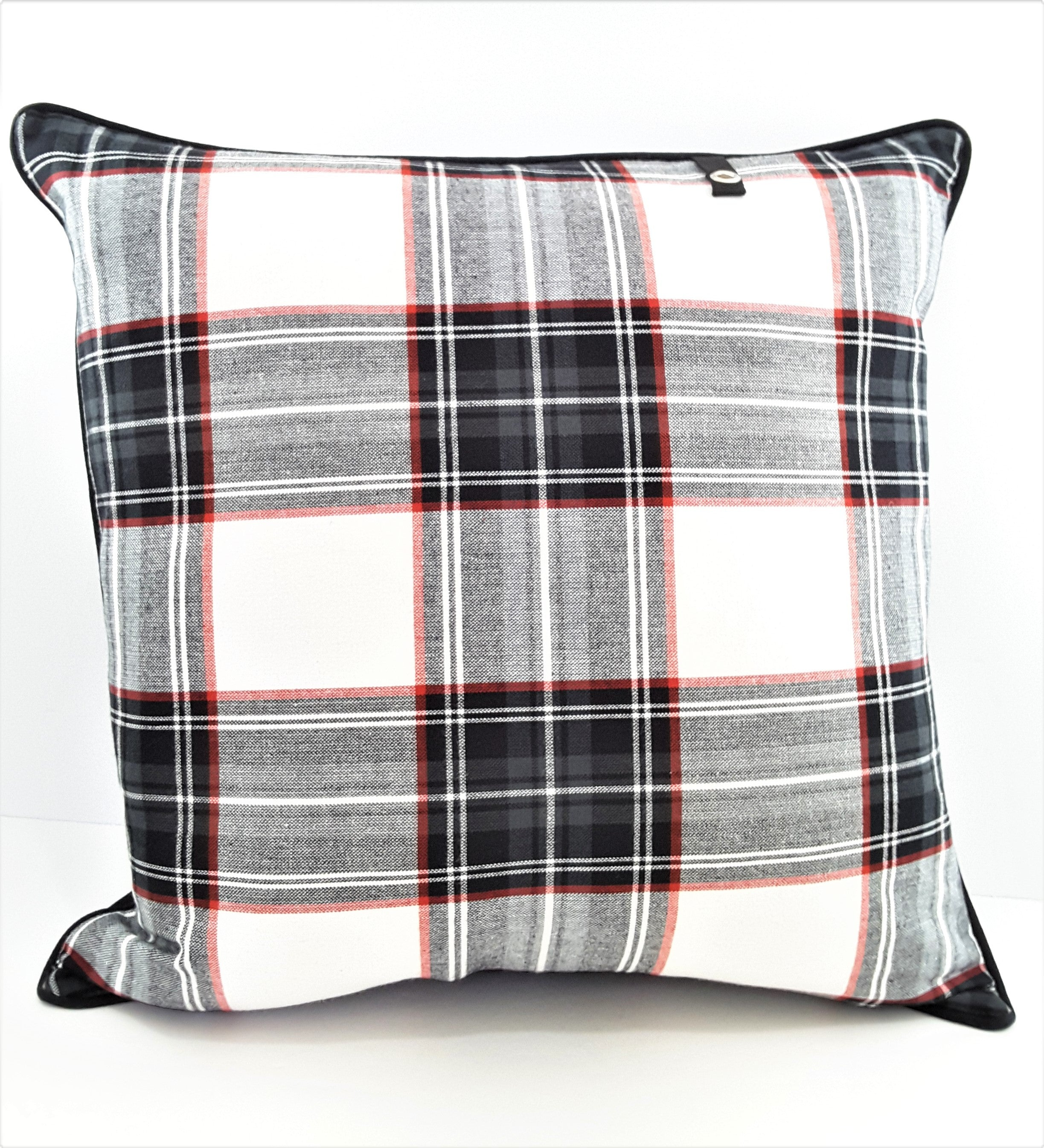 "Black/White/Red Plaid Denim Pillow Cover - 20""x20"" - TheLastWordBish.com"