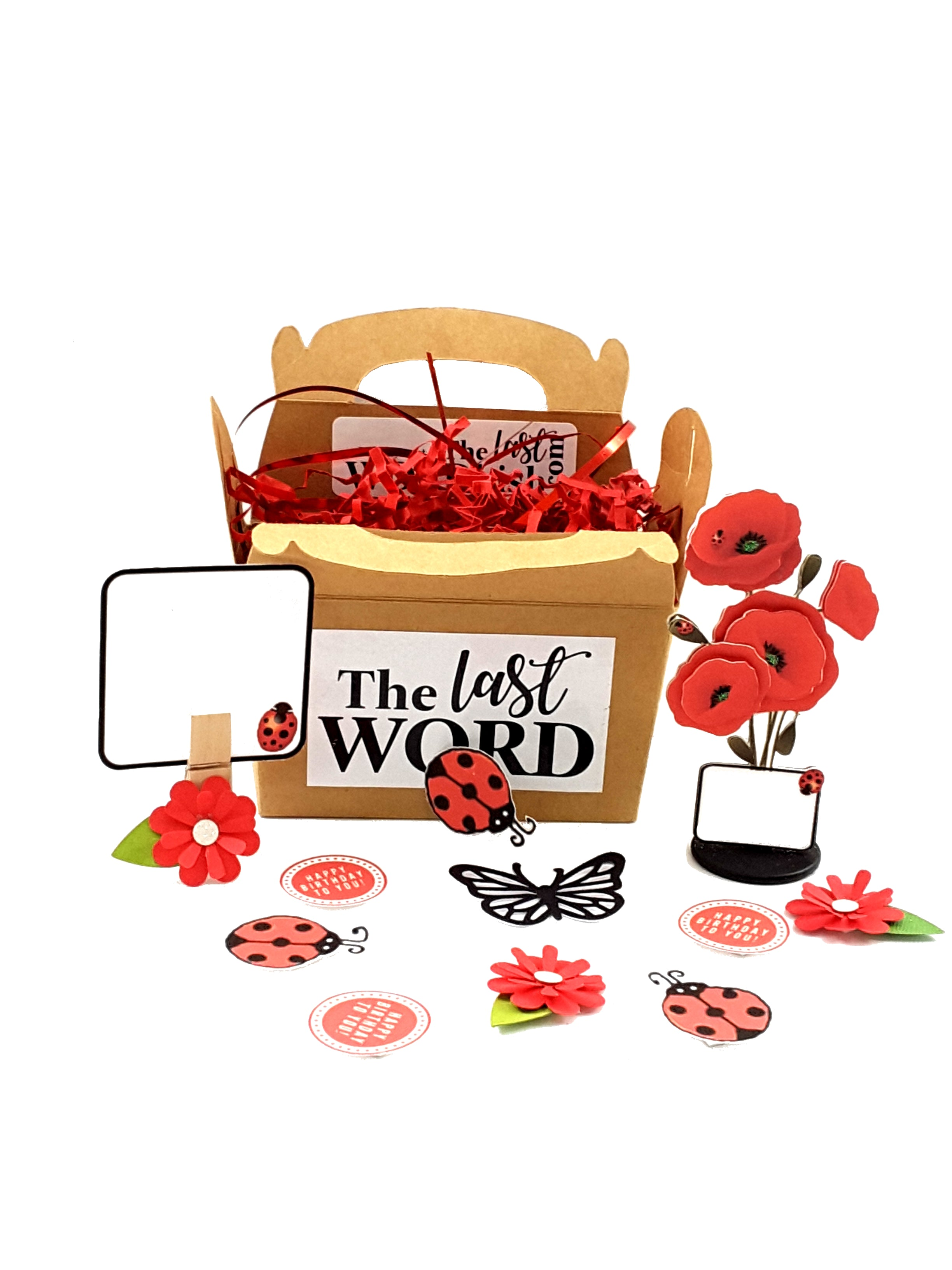 Stand-up All Occasion Greeting Card with Bouquet of Poppies in gable box