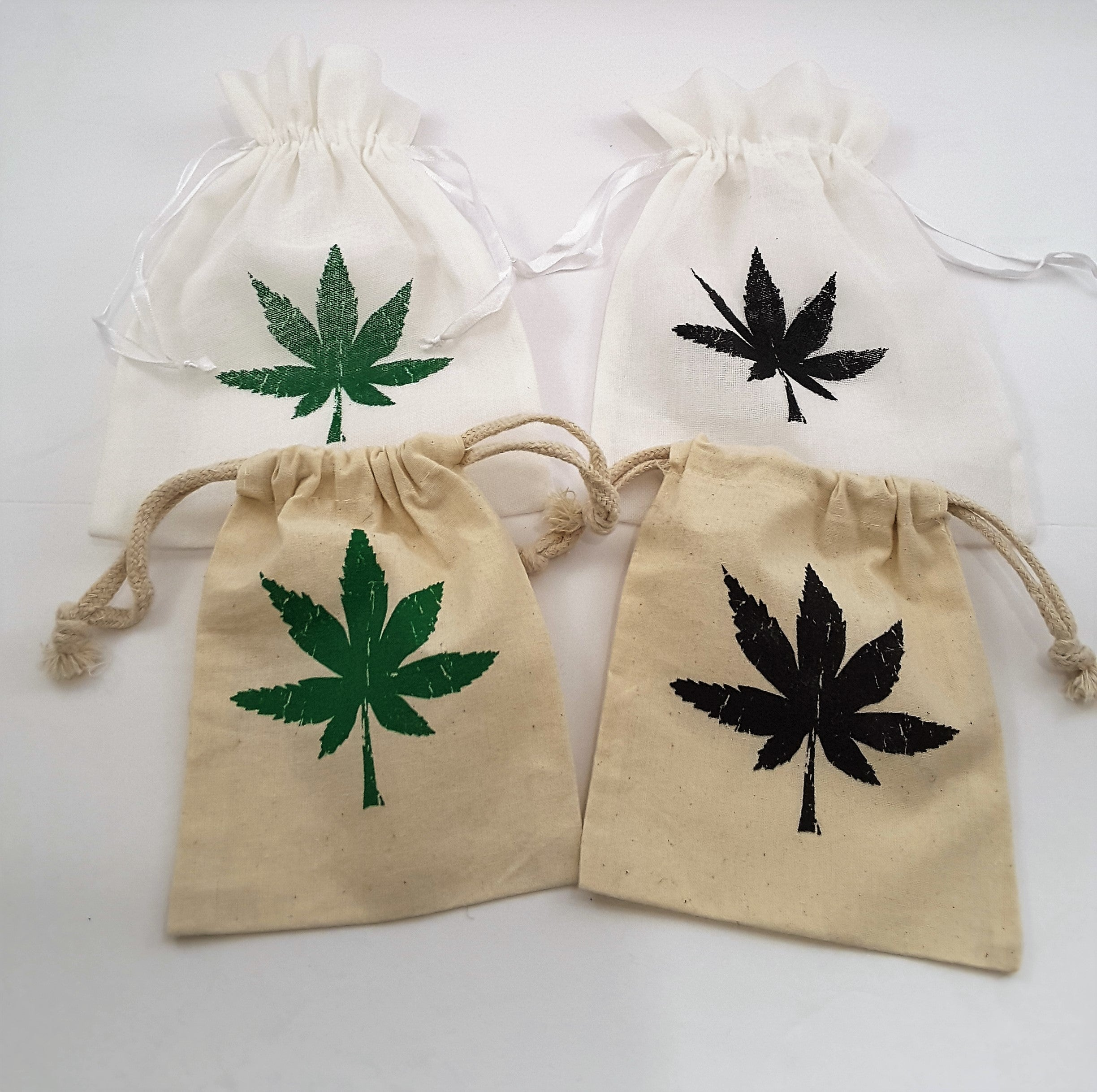 cannabis leaf drawstring pouches in gauze and muslin