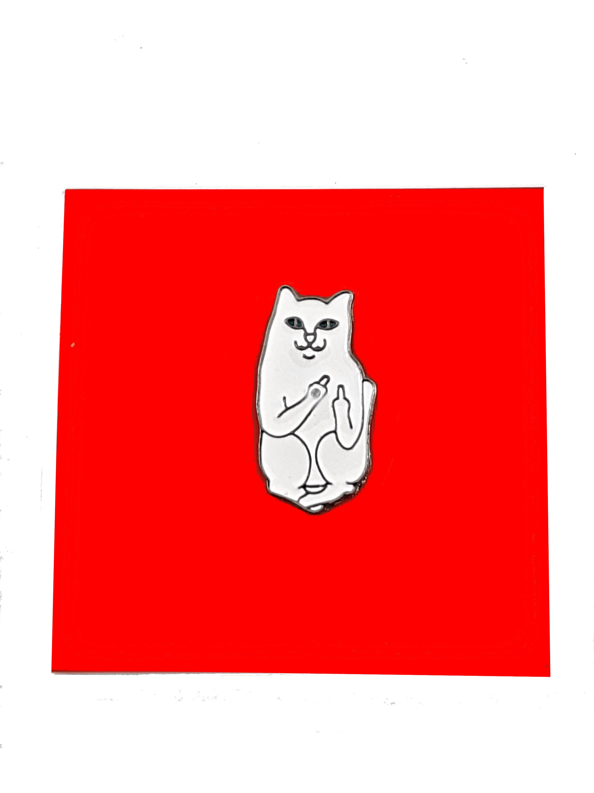 CAT FLIPPING THE BIRD ENAMEL PIN ON RED BACKGROUND