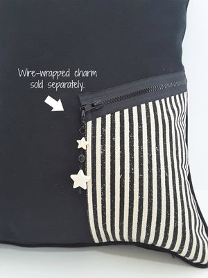 Black Denim Designer Pillow Cover with Zippered Pocket & Charm - TheLastWordBish.com