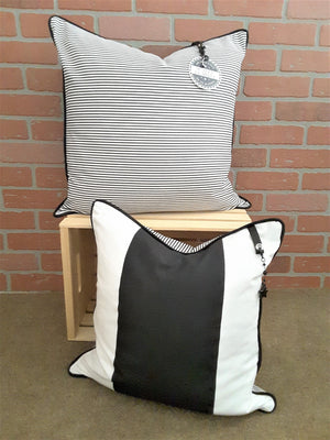 Black Stripe Denim Pillow Cover - Free Shipping. - TheLastWordBish.com