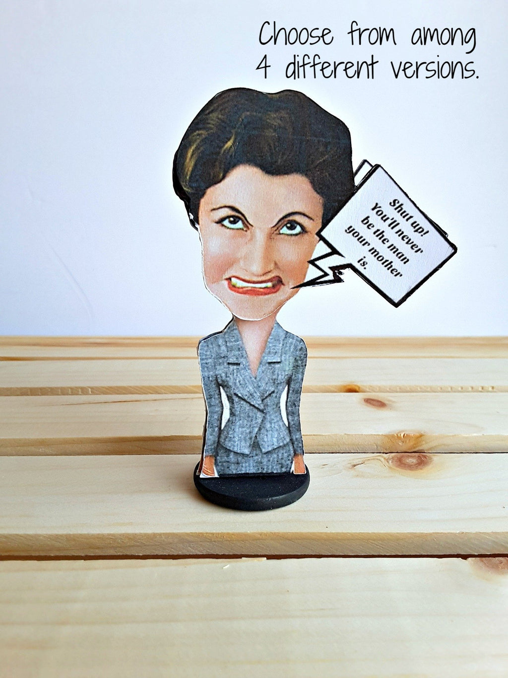 3-D crazy lady with wobble head and custom message