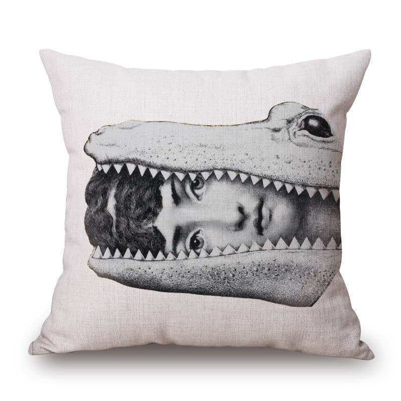 Pillow Cover Fornasetti's Woman with Her Head in the Mouth of an Alligator  - Free Shipping! - TheLastWordBish.com