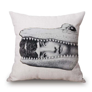 Pillow Cover Fornasetti's Woman with Her Head in the Mouth of an Alligator - TheLastWordBish.com