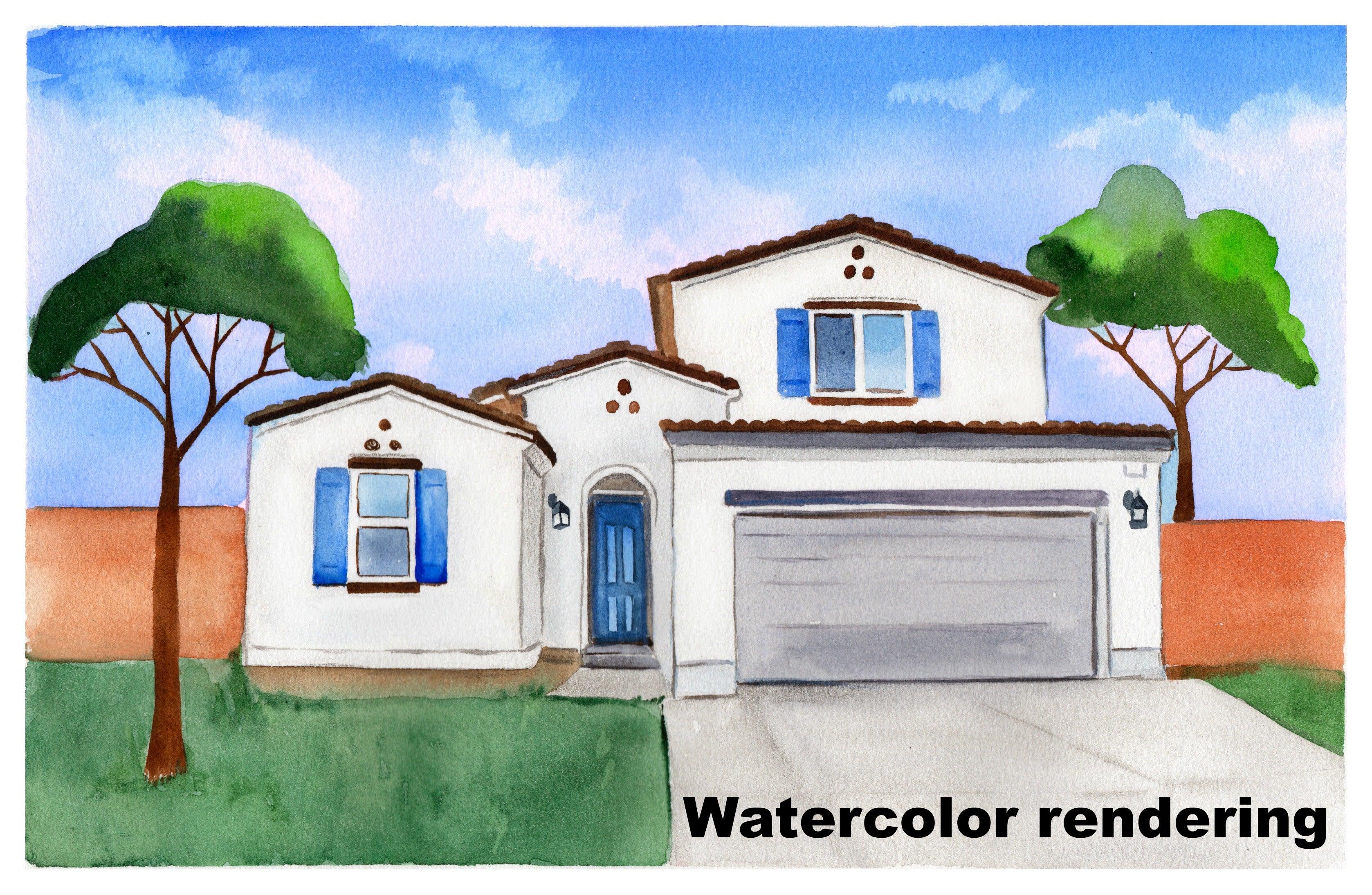 HOUSEWARMING GIFT OF WATERCOLOR RENDERING OF NEW HOME