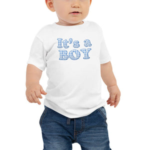 Baby Boy Tee with Blue Gingham Checkered It's a Boy - TheLastWordBish.com