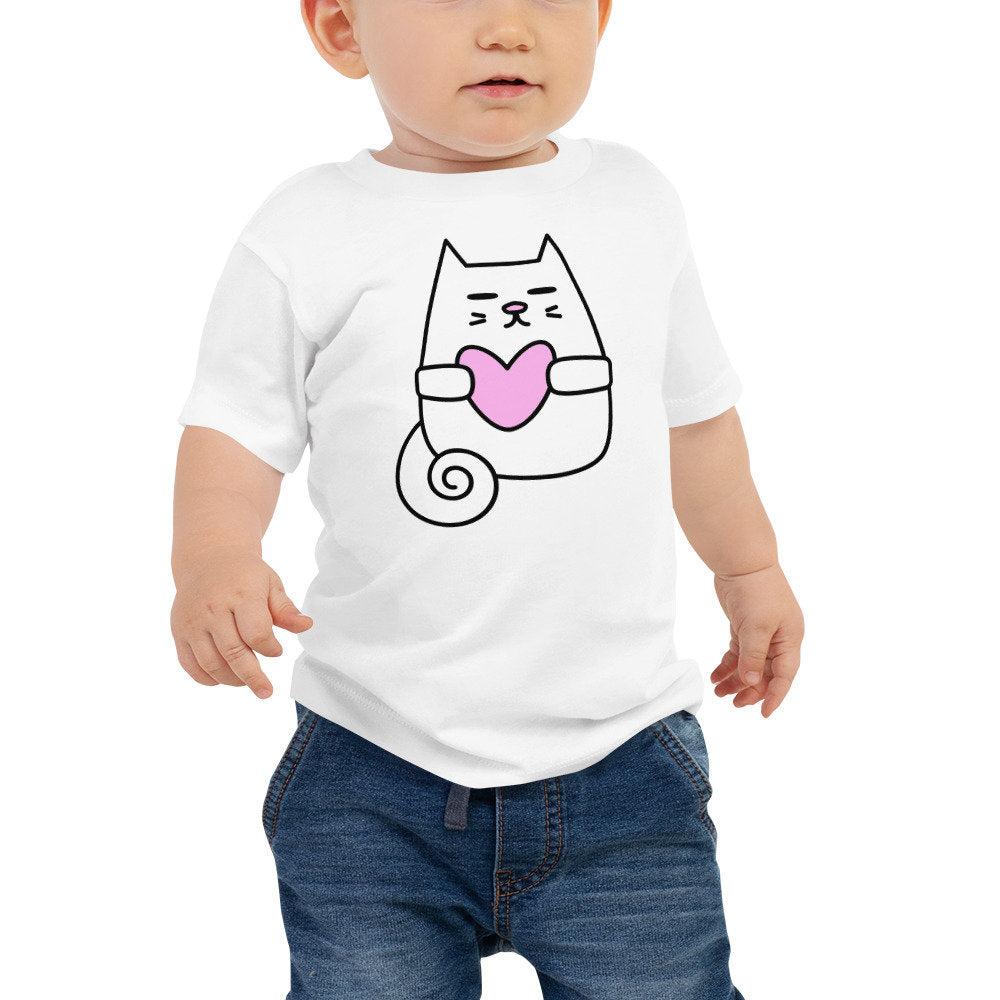 Personalized Unisex Baby Jersey Short Sleeve Tee with Kitty Love