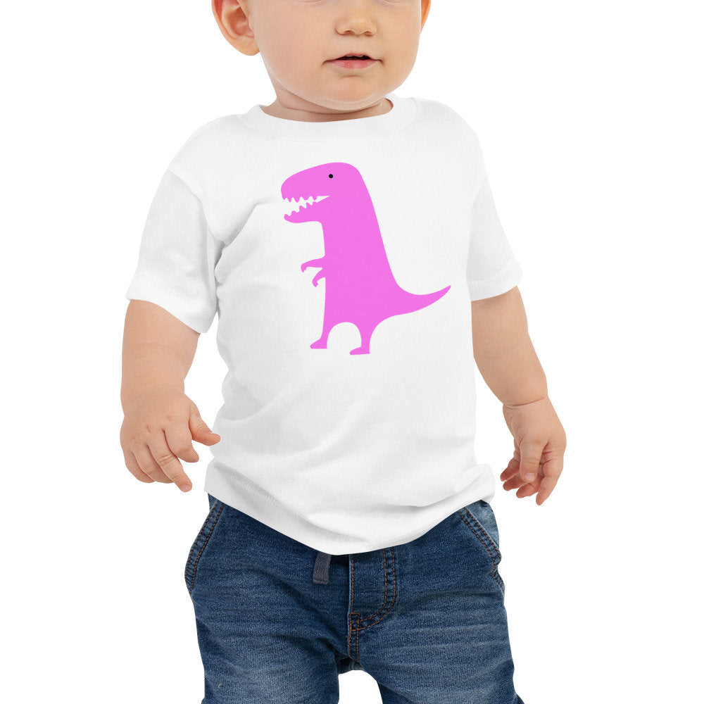 Personalized PInk Dinosaur Unisex Baby Tee - Add your baby's name or any other text of your choice