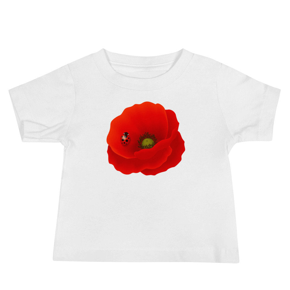 Personalized Large Red Poppy Unisex Baby T-shirt - Add your baby's name or other text to this tee! - TheLastWordBish.com