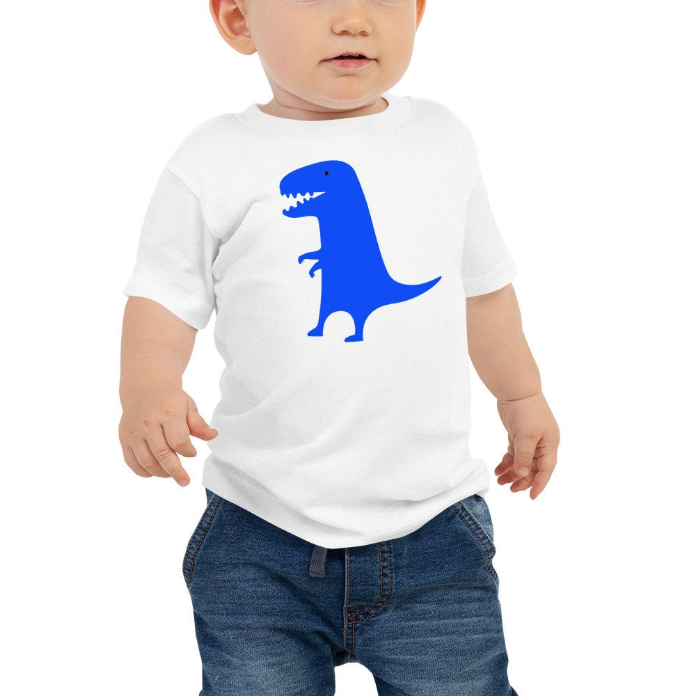 Personalized Blue Dinosaur Unisex Baby Tee - Add your baby's name or any other text of your choice