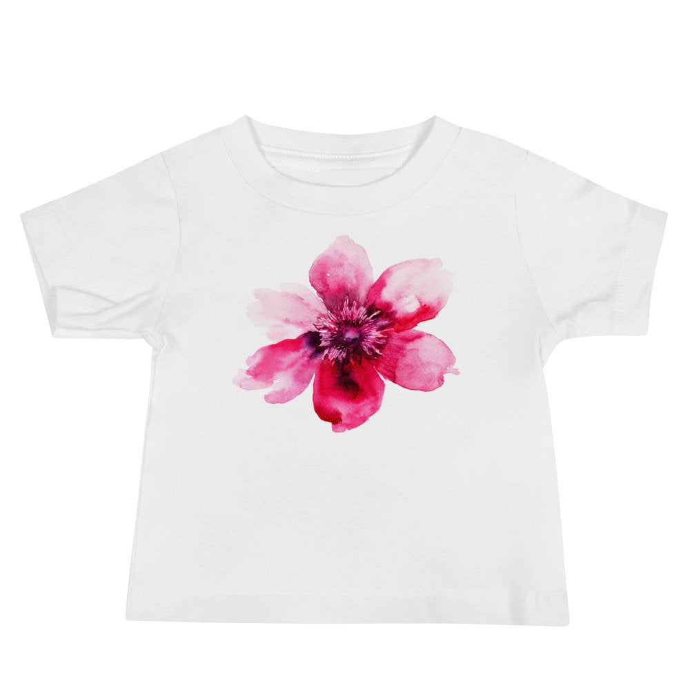Personalized Watercolor Pink Floral Unisex Baby T-shirt - TheLastWordBish.com