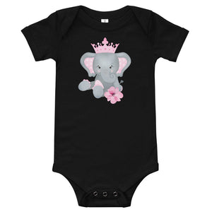 Adorable Personalized Elephant with Pink Crown Baby Onesie - TheLastWordBish.com