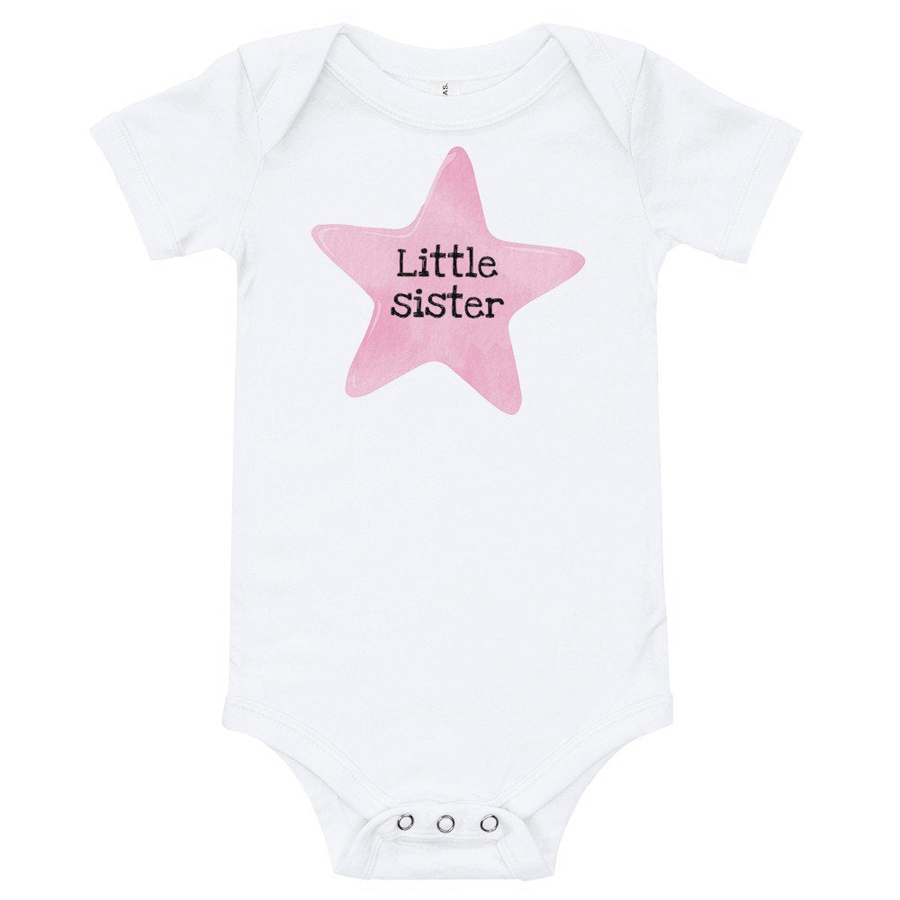 Little Sister Baby Onesie with Pink Star - TheLastWordBish.com
