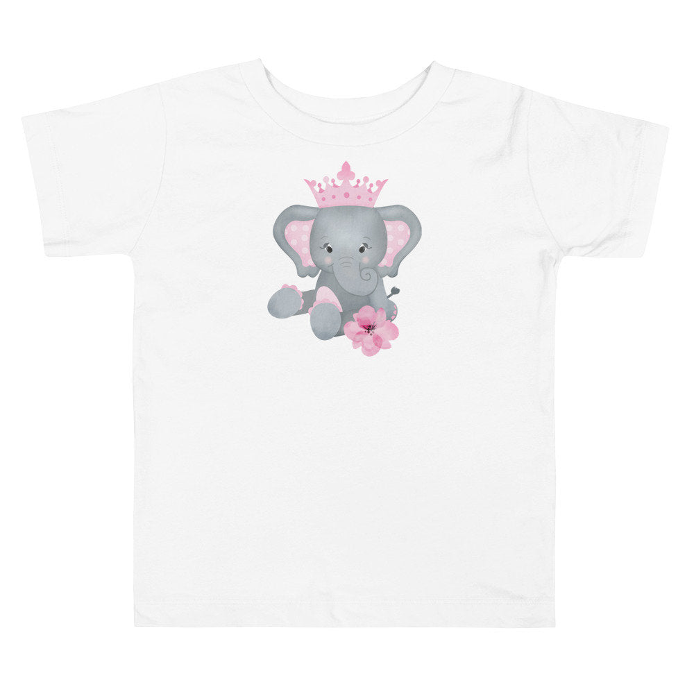 Personalized Toddler Girl's Tee with Pink & Gray Elephant