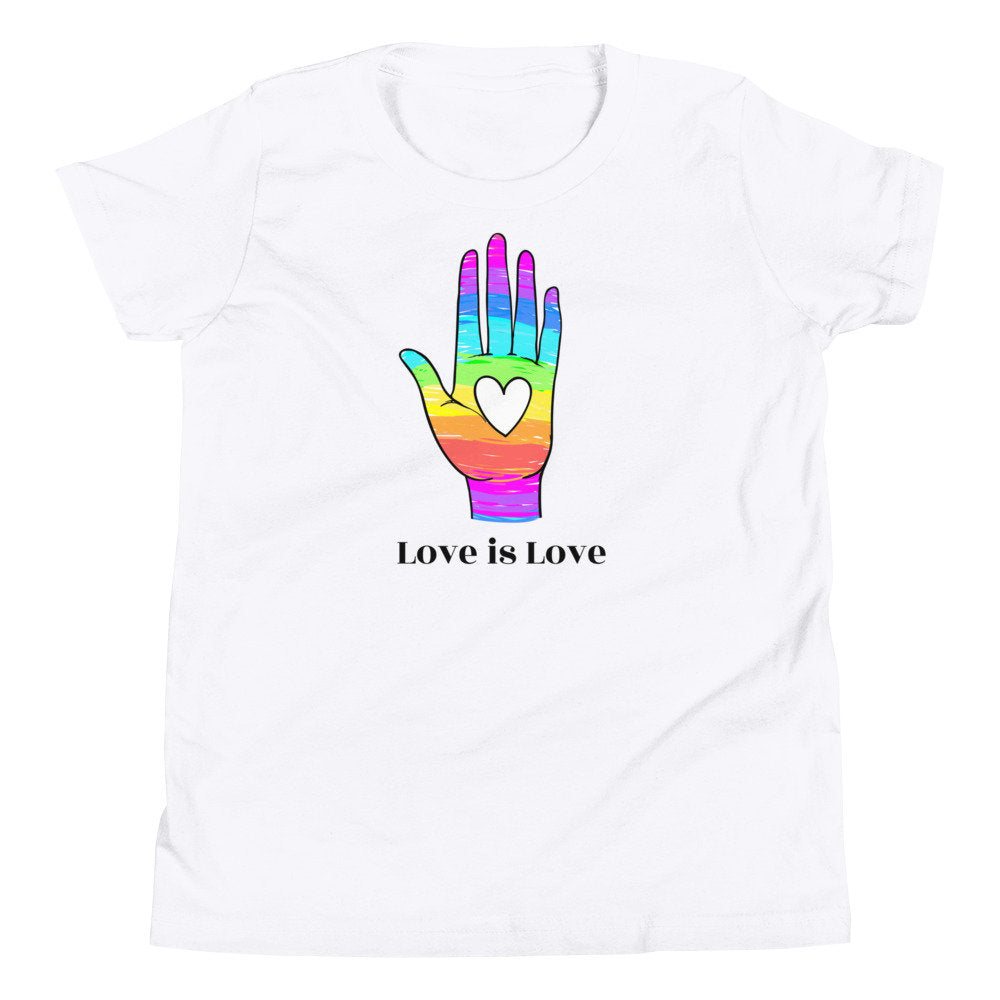 "Rainbow Hand ""Love is Love"" Unisex Youth T-Shirt"