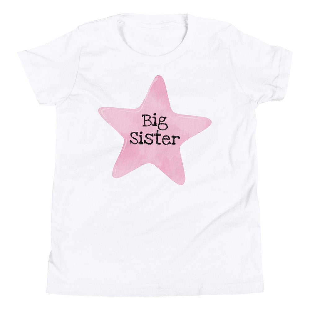 Big Sister Pink Star Youth T-Shirt - TheLastWordBish.com