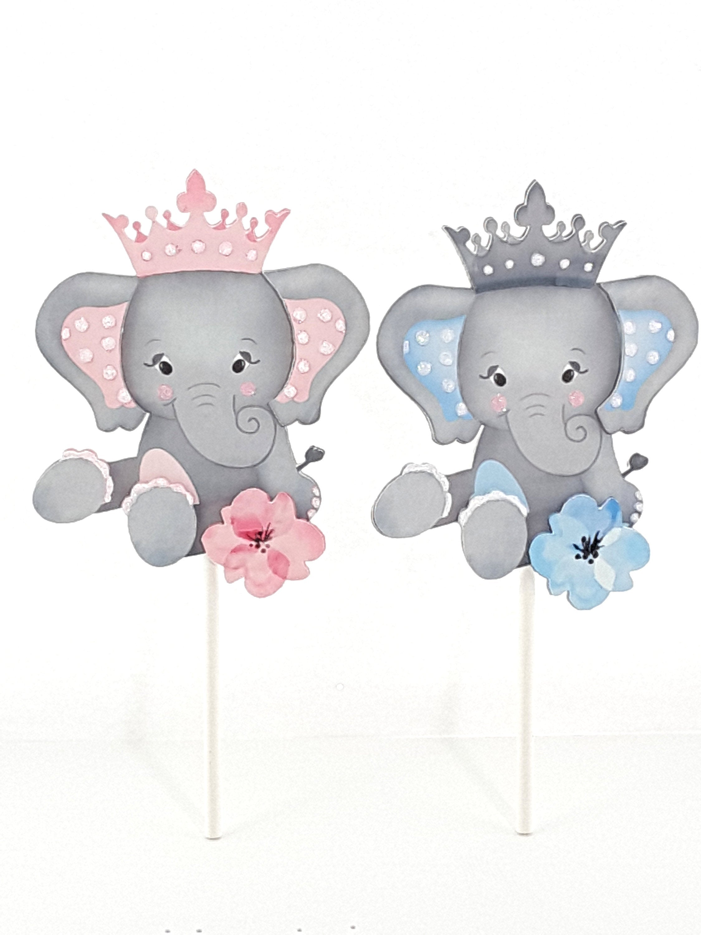 Adorable Personalized Elephant Cake Topper  Cake Decoration for Birthday or Baby Shower - TheLastWordBish.com