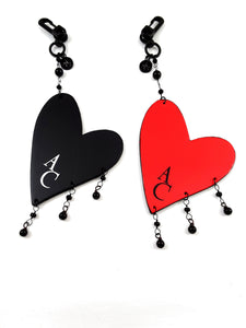 Purse or Pillow Charm with Hanging Heart with your initials - TheLastWordBish.com