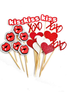Love & Kisses Cupcake Toppers for any occasion