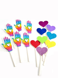 Rainbow Hand with Glittered Hearts Cupcake Topper Collection for LGTBI - all occasion party decor