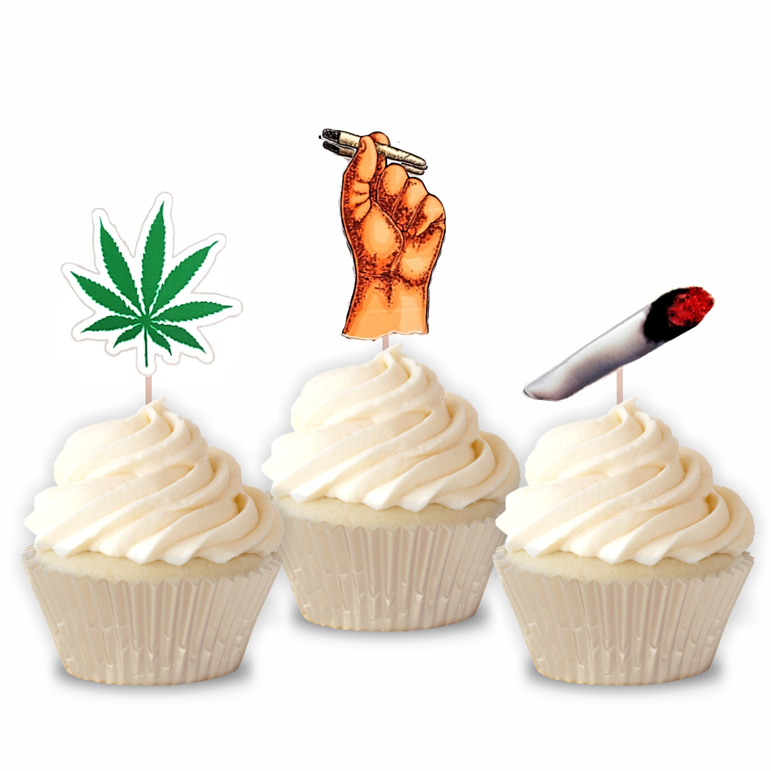 Cannabis Cupcake Toppers for all occasion parties