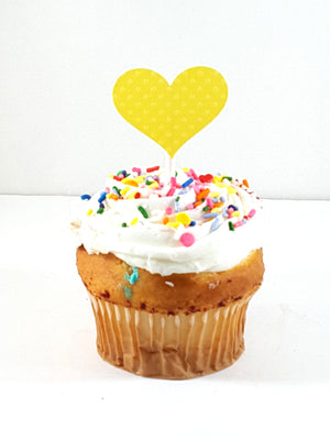 Personalized Baby Shower Cupcake Toppers with baby bottle, yellow duckie and heart - TheLastWordBish.com