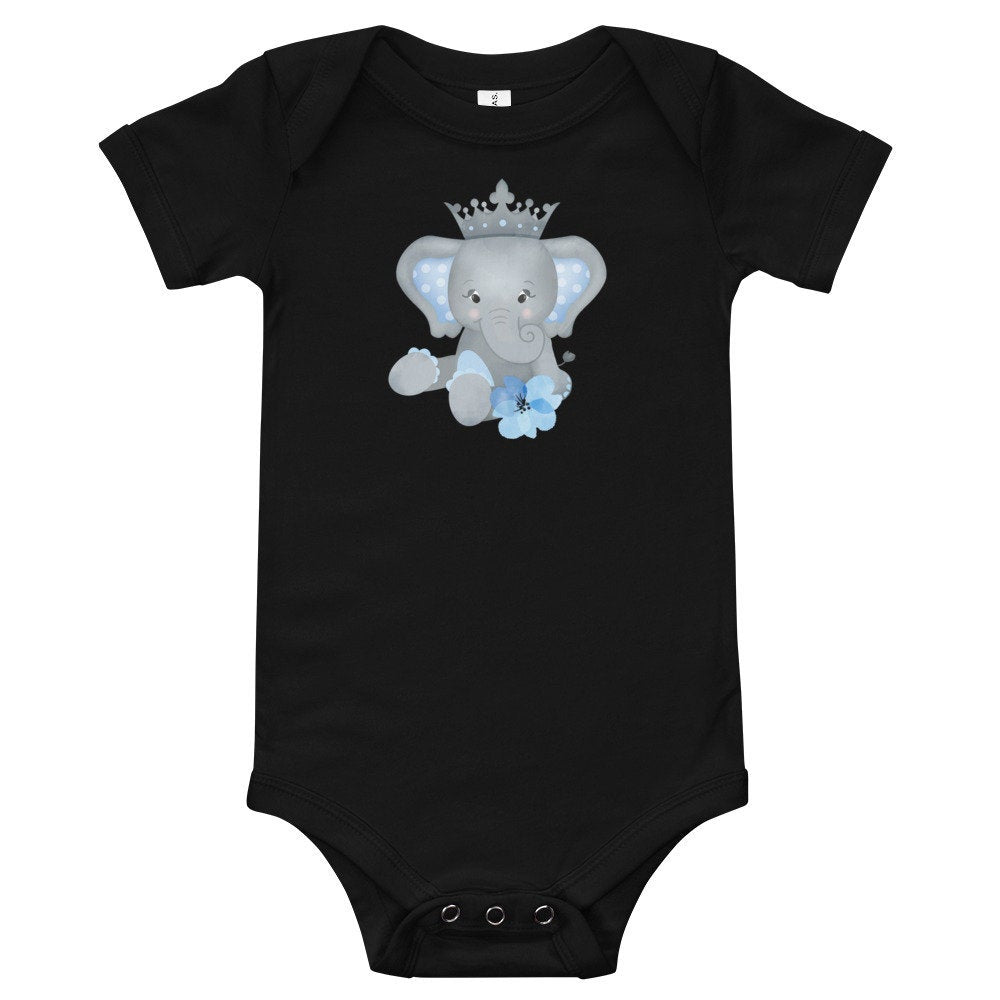 Personalized Baby Bodysuit Featuring Adorable Elephant with Crown - TheLastWordBish.com