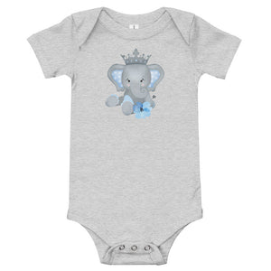 Personalized Baby Bodysuit Featuring Adorable Elephant with Crown