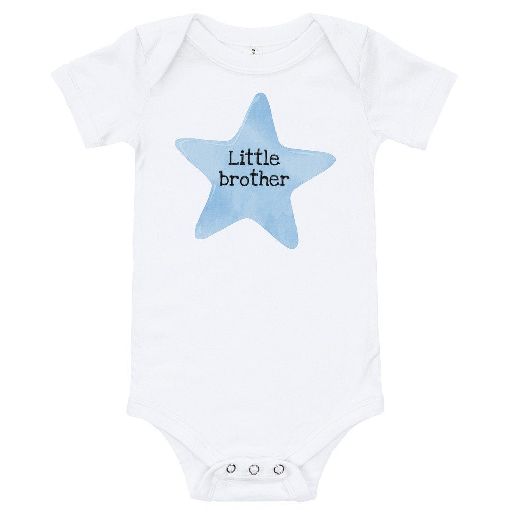 Little Brother Baby Onesie with Blue Star - TheLastWordBish.com