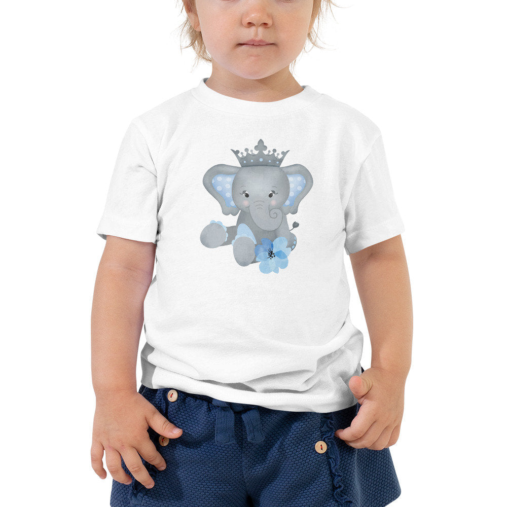Elephant with Crown Toddler Tee - Add your toddler's name or any other text you'd like! - TheLastWordBish.com