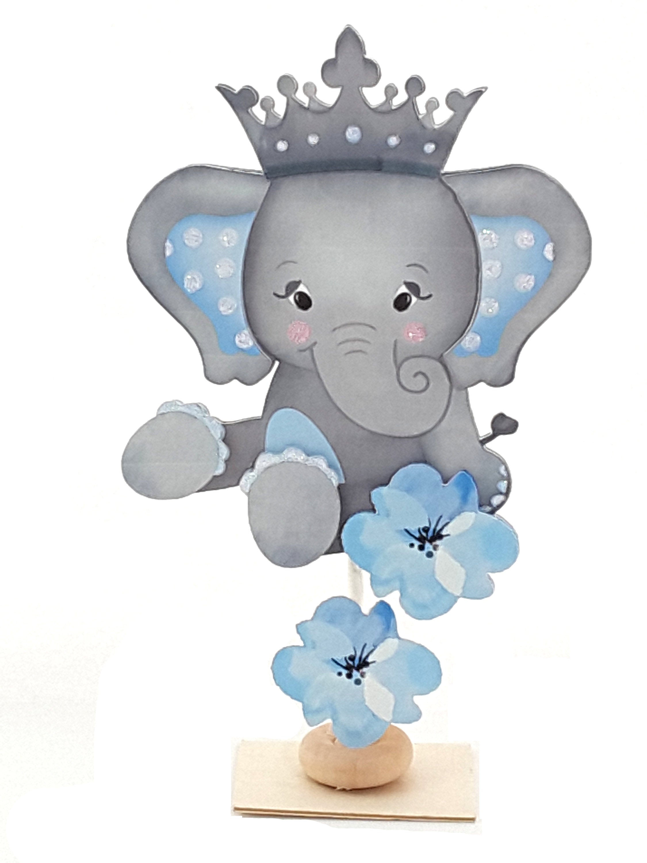 Personalized Adorable Pink or Blue Elephant Centerpiece or Decoration - TheLastWordBish.com