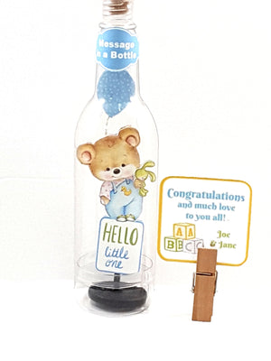 Adorable Personalized Stand-up All Occasion card with Teddy Bear Message in a Bottle