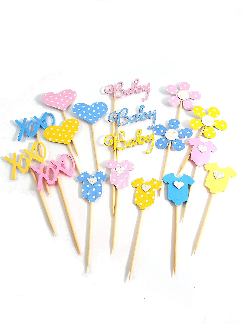 Your Choice of Assorted Polka Dotted and Solid Pink, Blue and Yellow  Cupcake toppers  for baby shower